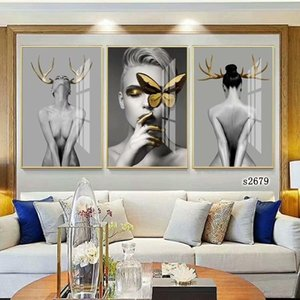 3 Panels Nordic Butterfly Feather Girl Awakening Canvas Oil Painting Poster Prints Home Decor Modern Wall Art Picture for Living Room