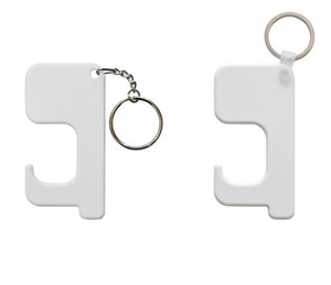 Sublimation Keychain Germ Free Key Chain Non-contact Door Handle Keychain Wooden DIY Blank Key Rings Safety Touchless Door Opener