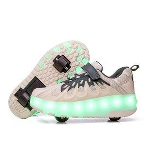 PKSAQ LED niños patines luz de las muchachas de los niños luminosos zapatillas de deporte del patín de luz hasta los zapatos con patines ruedas niños USB