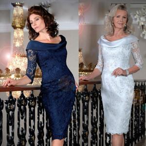 Elegant Blue Lace Mother of the Bride Dresses Off Shoulder Sheath Short Evening Gowns Short Sleeves Knee Length Wedding Guest Dress