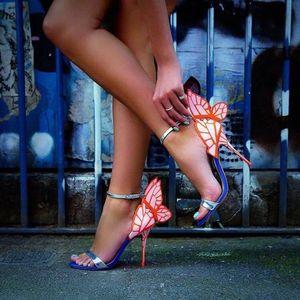 Lüks Metalik Deri Kelebek Kanat Sandalet Metal Stiletto Topuklar Düğün Ayakkabı Gelin Bilek Kayışı Patchwork Elbise Ayakkabı