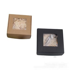 Sabão cor sólida Kraft Paper Box Colar Brincos Organizador cookies Recipientes de embalagem esvaziamento dos presentes Muito Escalas 1xy D2