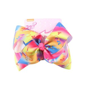 """8"""" jojo siwa Large Bows with Clip Unicorn Baby Hairpins Bowknot Hairgrips Handmade Rainbow Hair clip Hair Accessories for Girls"""