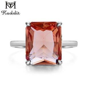 Kuololit Diaspore Sultanite changement de couleur de pierres précieuses Bagues de femmes réel Argent 925 Emerald Cuttingg engagement Bijoux