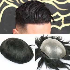 Full Pu Hombres Toupee Durable 0.06-0.08mm Piel Natural Looking Remy Hair Hombres Peluca Human Pelo Full PU Reemplazo Tupee