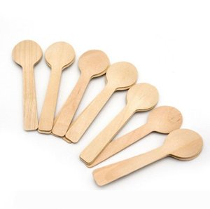 Disposable Wooden Spoon Mini Ice Cream Spoon Wood Western Dessert Scoop Wedding Party Tableware Kitchen Accessories 100Pcs SN2111