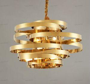 Lampadari circolari moderni in acciaio inox in acciaio inox lampadario circolare Creative Tornado Atmosphere Light Light Pranzo Sala da pranzo Lampada Lampada