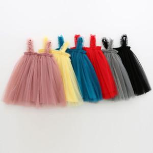 INS bébé filles Tutu Robes enfants Sling Gaze Jupe d'été fête élégante couleur unie Agaric dentelle Jupe Gaze 5 couleurs