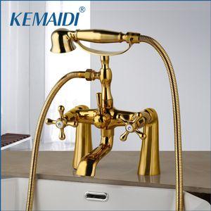 KEMAIDI Antique Brass Golden Bathtub Shower Faucets Set Dual Knobs Mixer Tap Deck Mounted Bath Shower Swivel Tub Spout Shower