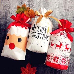 12pcs Merry Christmas Plastic Gift Bags Santa Claus Xmas Tree Packing Bags Happy New Year Christmas Candy Bags Navidad