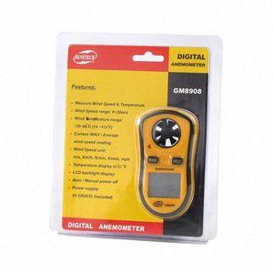 도매-GM8908의 30m / s의 (65MPH) flut 번호 windso LCD 디지털 휴대용 풍속계 풍속 미터 게이지 측정 풍속계 온도계 RPM 측정기