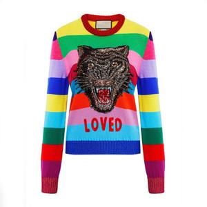 Piste Design Tigre Paillettes Femmes Pull 2020 long hiver manches Femme arc-en-rayé en tricot brodé overs Vêtements