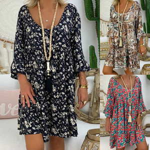 Women's Ladies Loose Plus Size Print Long Sleeve V-neck Mini Dress