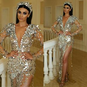 Deep V Neck Sequined Prom Dresses Long Sleeves Tassel Beaded Dubai Floor Length Side Split Evening Gowns Vestidos 2020 Pageant Dress