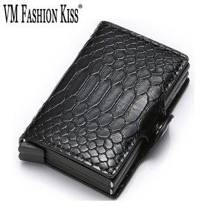 Rfid Blocking Protection Men Id Wallet Snakeskin Double Box Automatic Card Holder Aluminium Travel Metal Purse Minimalist Wallet
