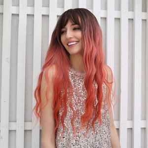 "26"" Black Gradient Coral Red Synthetic Long Wavy Hair Wig Center Parting"