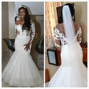 Vintage Arabic Aso Ebi Long Sleeves Wedding Dresses Sheer Neck Lace Beaded Backless African Bridal Gowns vestidos de novia Designer Wedding