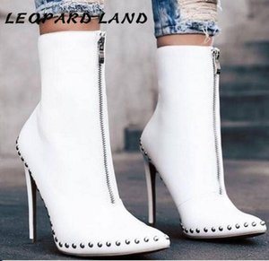 LEOPARD LAND 2020 Large Size Women's Boots Pointed Toe Studded Black White Women's Boots Knight Mid-Calf CWF