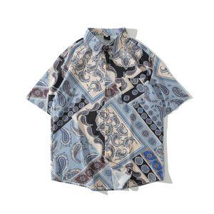 Vert Bleu Plein Imprimé Chemise hawaïenne hommes vers le bas col Turn Shirt Men 2020 Summer Man Vêtements