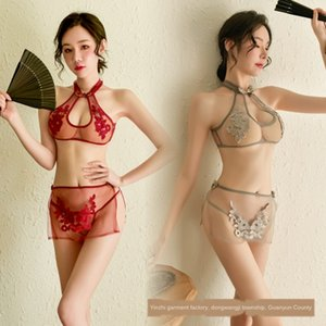 Sexy Underwear bikini underwear women's role play bikini three-point cheongsam lace embroidery plate buckle set