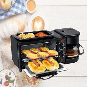 3 in 1 Elektro Frühstück Maschine 220V Toaster Startseite Kaffeemaschine Pizza Egg Tart Backofen Bratpfanne Brot-Hersteller 450w