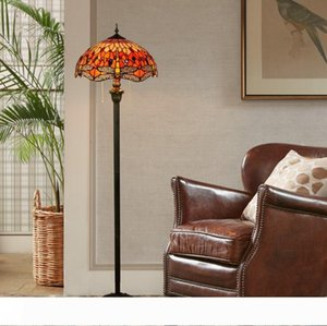 Tiffany libélula lámpara europea Stained Glass Floor Lamp Hotel Sala mano soldada Arte Lámpara TF016.