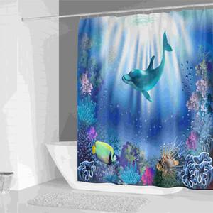 방수 블루 오션 열대 산호 해저 물고기 샤워 커튼 커튼 만화 키즈 패브릭 샤워