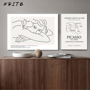 Picasso Matisse Art Dessin au trait Poster Résumé Minimaliste Wall Art TOILE célèbre peinture décorative Image Moder Bxhb #