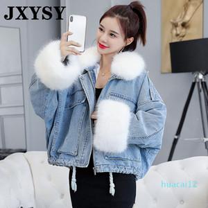 Moda-JXYSY Invierno Denim capa de la chaqueta con capucha de terciopelo Mujeres Vaqueros Short Mujer Collar de la piel de imitación caliente acolchada 2020 chaquetas del vaquero Outwear