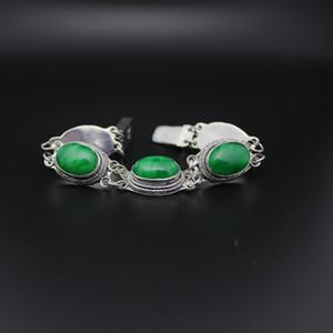Trendy hot new authentic retro jade full green bracelet Tibetan silver inlaid emerald bracelet natural jade bracelet men's hip-hop men and w