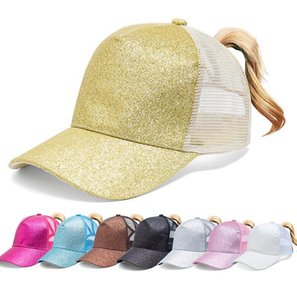 Glitter Ponytail Baseball Cap Women Snap Back Mesh Summer Hat Female ponytail baseball tennis Sports cap hat 7 colors LJJK2030