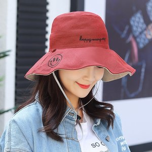 eqbsc Edge big edge embroidery smiling face beach ladies screen big brim cotton and sun Embroidered sun hat linen windproof rope sunshade h