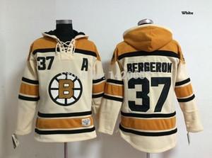 Personnaliser les Bruins de Boston Bruins Jersey # 37 Patrice Bergeron Hockey sur glace Toison cachemire à capuche 3 couleurs Hommes Femmes Enfants