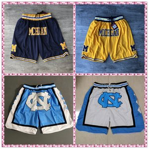 NCAA di formato S-XXXL ricamo Fitness Michigan Wolverines Shorts Pantaloni felpa North Carolina con la chiusura lampo Pocket Sportwear Pants