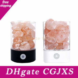 La noche se enciende la lámpara de cristal de sal natural de purificación de aire regulable Pink Salt Rock cambio de color de luz de la noche