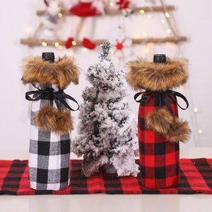Vintage Plaid Printed Linen Bottle Covers Fashion Christmas Red Wine Set Indoor Christmas Decoration for Hotel Restaurant