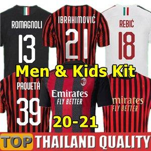20 21 AC Milán camisetas de fútbol 2020 2021 AC Camiseta de futbol 120 aniversario PAQUETA BENNACER REBIC ROMAGNOLI Ibrahimovic Hombres Kit para niños uniforme
