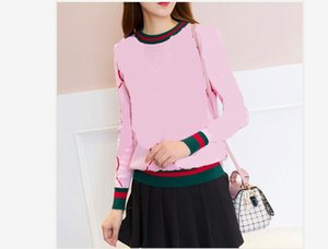2019 новая осень зима о-образным вырезом с длинным рукавом логотипа печать моды вязаный теплый утолщение цвет блока с длинными рукавами свитер топы пуловер
