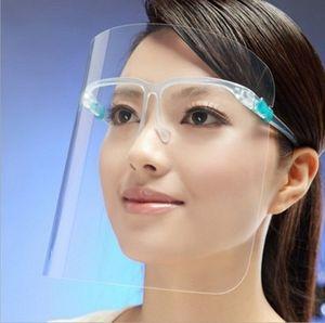 Hot 2020 Transparente Máscara protetor facial PET de plástico claro óculos de armação de isolamento Anti Fog completa máscaras protetoras partido
