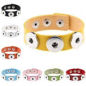 DHL epacket ship Fashion DIY button bracelet men and women PU leather snap bracelet DJFB88 Charm Bracelets jewelry