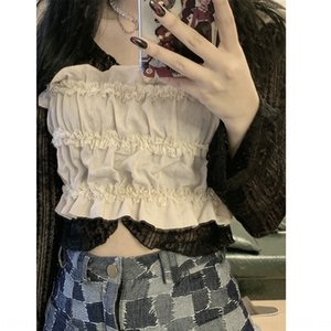 Stacked baby camisole Top vest Lace vest women's summer outer wear ins Super fire high waist navel lace sleeveless top