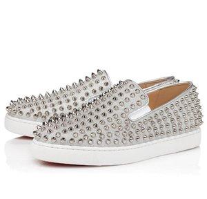 Homens Mulheres Sapatos casuais Luxury Designer Orlato Red inferior Studded Spikes Moda Insider Sneakers Belas areia 2 cores corte baixo Couro 35-47