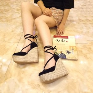 Women Sandals Casual Linen Wedge Ankle Strap High Heel 12CM Ladies Girl Platform Pump Espadrilles Student Shoes Y200619