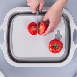Alta Capacidad Nueva 2 en 1 plegable PP + TPR multifunción corte de verduras Junta Fregaderos de carne de la fruta de cortar los bloques