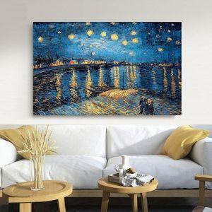 La poésie élégante Nuit étoilée sur le Rhône par Vincent Van Gogh Peinture toile artiste célèbre mur Wall Art Prints Image Home Decor
