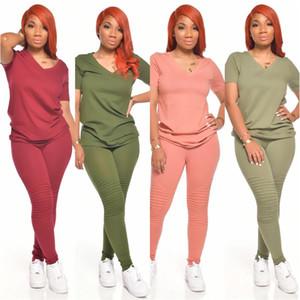 Штабелистые брюки Женщины Двухструктурные наряды Дизайнер трексуиты V шеи тонкий с коротким рукавом женщин 2 шт.