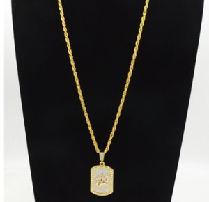 gold color bling bling one hundred dog tag jesus pendant necklace iced out 60cm long necklaces fashion hip hop jewelry ps0632