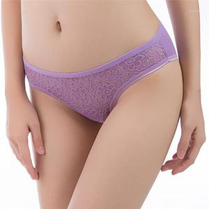 Lace oco Out diária Briefs Confortável Designer Underwear das mulheres Casual Mid cintura Calcinhas Womens Patchwork Floral