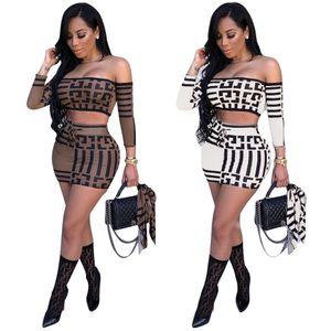 Женщины дизайнер Два-Piece Set Геометрического шаблон обрезанного Top + Юбки Sexy двухкусочного платья Street Style Одежды 2 цвет