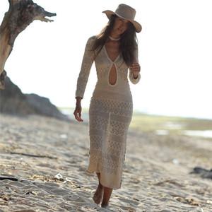 Fitshinling Bohemian трикотажное длинное платье пляж выдалбливают сексуальные горячие v парео шеи 2020 тонкий праздник макси платья женщин купальники